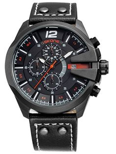 Skone Herren Schwarz Brown Sport Outdoor Chronograph Leuchtzeiger coole Militär Design Quarzuhr Analog Anzeiger Armbanduhr - http://uhr.haus/findtime/skone-herren-schwarz-brown-sport-outdoor-coole-4