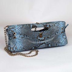 Adele genuine python pochette by Gleni in sky blue color (front-cut)