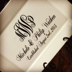 Monogram Personalized Wedding Date Plate with Stand Monogram Initials on Etsy, $36.00