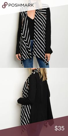COMING SOON Drape Cardigan Long sleeve open drape front striped cardigan. Fabric Content: 74% POLYESTER 22% COTTON 4% SPANDEX Sweaters Cardigans