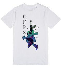 Weird ghost with gun t-shirt.