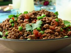 Kheema: Indian Ground Beef with Peas recipe from Aarti Sequeira via Food Network
