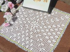 """I sell this on my Etsy shop """"YuminaCafe"""". Link in my profile. Clearance , Weddings Doily,Crochet Doilies,Kawaii Doily,Doll Rug,Dresser mat,Table center,Table topper,Square,White / 8.5x8.5"""" - #d32 by YuminaCafe on Etsy"""