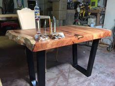 Natural Edge Redwood Slab Desk by Dog and Pig Furniture by DognPig