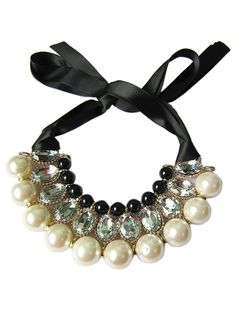 Faux Pearl Layered Tied Choker Necklace | Choies