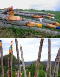 Effectively making us humans feel like the tiny creatures that we really are, these sculptures by Finnish artist Jonna Pohjalainen transform thin, straight aspen trunks into huge colored pencils. The works were exhibited at the Open Air Museum in Latvia.