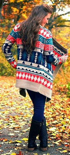Bright Fall Clothes Collection Aztec Print Sweater