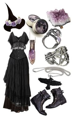 """risaisafox: """" Amethyst Forest Witch by risaisafox featuring goth jewelry """""""