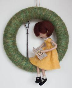 Needle felted Narnia book girl yarn wreath MADE by MavisSnapdragon Narnia, Black Mary Jane Shoes, Mobiles, Felt Mobile, Book Girl, Felt Dolls, How To Make Wreaths, Miniature Dolls, Doll Patterns