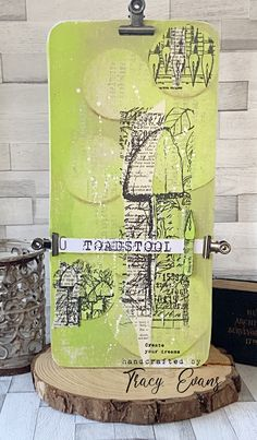 """Mixed Media Plaque using Tracy Evans Border Stamps """"Fungus"""" and """"Knibs and Mushrooms"""" from AALLandCreate."""