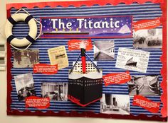 By Michelle Walsh This lovely display from Michelle was created for the Junior School Library (years pre-prep to five) to promote a display of books and a library competition on the Titanic. Primary School Displays, Class Displays, Classroom Displays, Reading Display, Library Book Displays, Library Ideas, Titanic Art, Rms Titanic, Kindergarten Activities