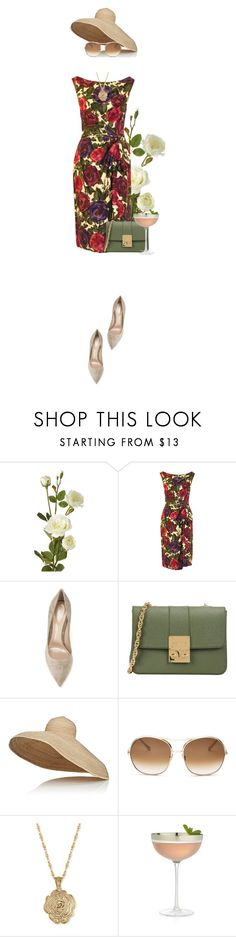 """Floral Print Wiggle Dress"" by colierollers ❤ liked on Polyvore featuring OKA, Ceil Chapman, Gianvito Rossi, Design Inverso, Lola, Chloé, 2028 and Crate and Barrel"
