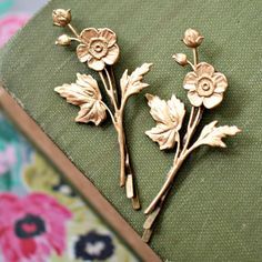 Golden Flower Bobby Pin Set of Two by NestPrettyThingsShop on Etsy, $18.00