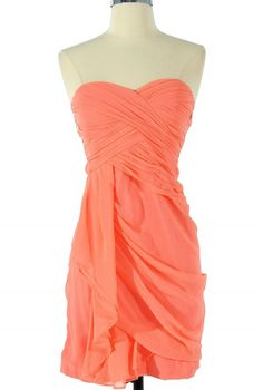 Dreaming of You Chiffon Drape Party Dress in Bright Peach by Minuet    www.lilyboutique.com