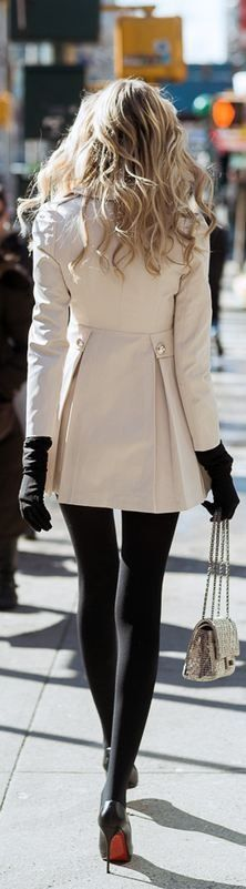 Beige Trench + Black Tights