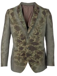 Khaki green cotton blazer from Mihara Yasuhiro featuring a notched lapel, a breast pocket, a central front button fastening, two pockets, long sleeves with button cuffs, a central back vent and a faded tonal green camouflage print at the front and shoulders.