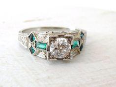 Vintage Art Deco Old Mine Cut Diamond and Emerald by RiordanStudio, $1650.00