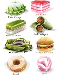 Asian Appetizers, Asian Desserts, Asian Recipes, Ethnic Recipes, K Food, Food Art, Nyonya Food, Food Sketch, Food Cartoon