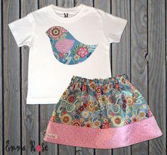 Baby/Toddler Girl Skirt Set, Pink, Green, Floral Print Skirt with Bird Applique Shirt, Handmade boutique Summer Dress, Birthday Gift on Etsy, $26.00