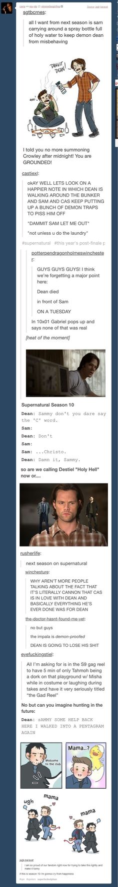 I hate the comment to do with Destiel though. I hate the concept of Destiel from the deep dark bottom of my heart Sam Dean, Dean Winchester, Sammy Supernatural, Impala 67, Fandoms, Comic, Super Natural, Superwholock, Best Shows Ever