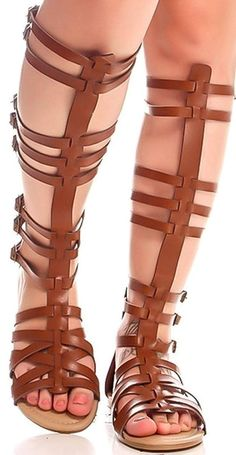 Women s Knee High Buckle Strapy Cage Flat Gladiator Marcelona Sandals Shoes    Check out the image 82e8bdcb6d