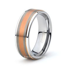 Mens Tungsten Carbide Wedding Band Brushed rose gold plated Polished stepped edge 8mm Mens wedding band wedding ring Anniversary rings