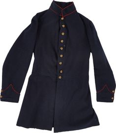 """Union Regulation Artillery Enlisted Man's Frock Coat. The blue wool body is in fine condition and retains its original nine general service """"eagle"""" buttons down the front and two at each functional cuff. The cuffs and the tall 1¾"""" collar are trimmed with welting of bright red wool, as called for in regulations for artillery units."""