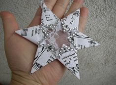 Christmas Star  Music Sheet Decoration  Paper Lace by FloroMondo