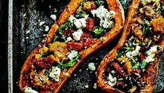 Baked butternut squash rubbed with balti spices and filled with salty feta, sweet sun-dried tomatoes and fresh mint. No wonder this is a great veggie dish that is filling and packs a lot of flavor. Gluten Free Vegetarian Recipes, Veggie Recipes, Indian Food Recipes, Real Food Recipes, Cooking Recipes, Paleo Meals, Vegetarian Options, Veggie Main Dishes, Vegetarian Main Dishes