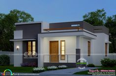 lakhs construction cost estimated low cost single floor house in an area of 630 square feet House Outer Design, Single Floor House Design, House Roof Design, Flat Roof House, Unique House Design, Low Cost House Plans, Low Budget House, Single Storey House Plans, House Design Pictures