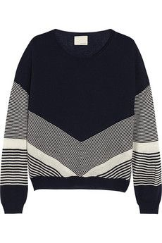 Band of Outsiders Color-block silk and cashmere-blend sweater | NET-A-PORTER