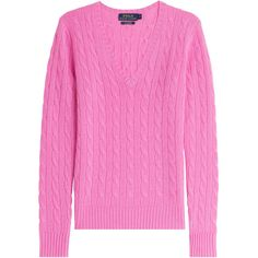 Ralph Lauren Polo Cashmere Cable Knit Pullover ($272) ❤ liked on Polyvore featuring tops, sweaters, magenta, pink, pink cable knit sweater, cable sweater, v neck sweater, cable pullover and cashmere sweater