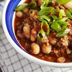 Lamb White Bean Chili Recipe Great recipe from Eating Well.  Don't be afraid to add some spice to it:  sirachi, tabasco, extra salt and pepper.  364 calories for a good sized serving too!