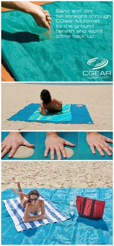Simply lay the Sand-Free mat on the ground and sand that falls on the mat will fall through the mat's weave unassisted by the vibrations caused from the wind or by your movements.