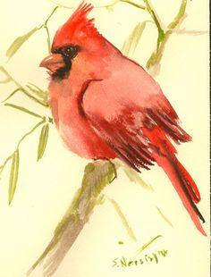 Rojo cardenal aves pintura, 7 X 5 en pequeña acuarela original