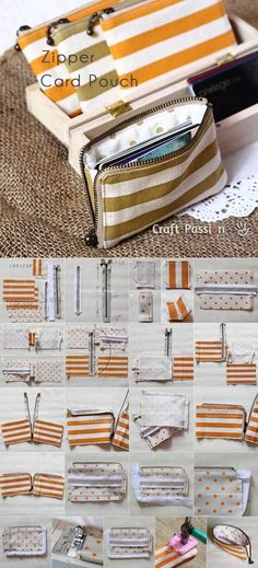 Diy Sewing Projects Stofftasche mit Reißverschluss More - Have you ever had too many cards for your wallet? Get the pattern and tutorial to sew a zipper card pouch and don't have to struggle with the cards anymore. Fabric Crafts, Sewing Crafts, Sewing Projects, Sewing Patterns Free, Free Sewing, Bag Patterns, Sewing Men, Sewing To Sell, Pattern Ideas