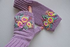 Hand Knitted  thistle color fingerless gloves by MySunsetColor