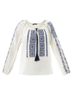 Embroidered gauze peasant blouse by Velvet | Apprl - Social Shopping