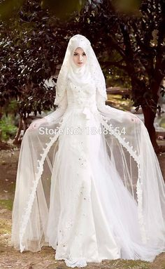 MZY201 Ivory White Custom Made A-line Lace Appliqued Floor Length Hijab Arabic Muslim Wedding Dresses Korban * AliExpress Affiliate's Pin.  Clicking on the image will lead you to find similar product on AliExpress website