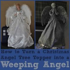 DIY Weeping Angel tree topper. Every time I walk past an angel topper in the store I think to myself it really only needs a nice coat of gray and it'd be a weeping angel. Lucky for me someone else tried it and posted it online before I attempted and made mess of it.