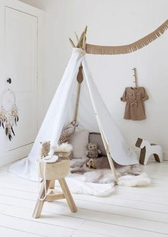 Indoor tipi tent for a childrens playroom or bedroom Kids Corner, Play Corner, Diy Tent, Diy Teepee, Teepee Kids, Teepee Tent, Toddler Teepee, Childrens Teepee, Toddler Bed