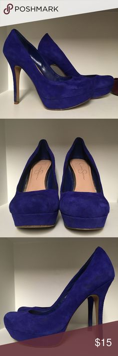 "Jessica Simpson Blue Suede Round Toe Stiletto, 9 Only worn twice, but one was to a wedding with a gravel path, hence the wear on the bottom. Still in good condition with tons of wear left. They have a 1"" platform and a 5"" heel. Let me know if you have any additional questions. Jessica Simpson Shoes Heels"