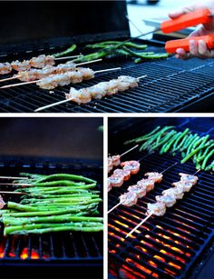 grilling shrimp and asparagus