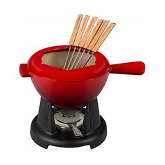 Le Creuset 2 Qt. Cheese Fondue w/Stand, Fuel Holder, 6 Forks - Cherry ($300) ❤ liked on Polyvore featuring home, kitchen & dining, kitchen, clear and le creuset