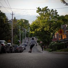 Surfing Side Streets is a weekly routine for friend of our shop. We tour the beautiful back roads of #Toronto neighbourhoods and find beautiful runs like this one. Join the Movement. #sidestreetsurfing #longboardliving #longboarding #longboard #skateboard #skateslate #concretewave #concretewavemagazine