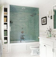 Bathtub And Shower Combinations For Small Bathrooms : Traditional White Bathroom With CLassic Vanity And White Bathtub Shower Combination And Wall Mounted Shelves  And Subway Ceramic Flooring