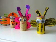 Cork bug craft - toilet paper roll works too Insect Crafts, Bug Crafts, Cork Crafts, Camping Crafts, Diy For Kids, Crafts For Kids, Arts And Crafts, Craft Activities For Kids, Preschool Crafts