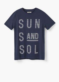 Printed text t-shirt | MANGO MAN