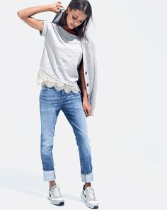 J.Crew women's ribbed elbow-patch cardigan sweater, lace trim tee, broken-in boyfriend jean in walker wash, and Nike Internationalist sneakers.