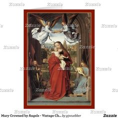 Mary Crowned by Angels - Vintage Christmas Card